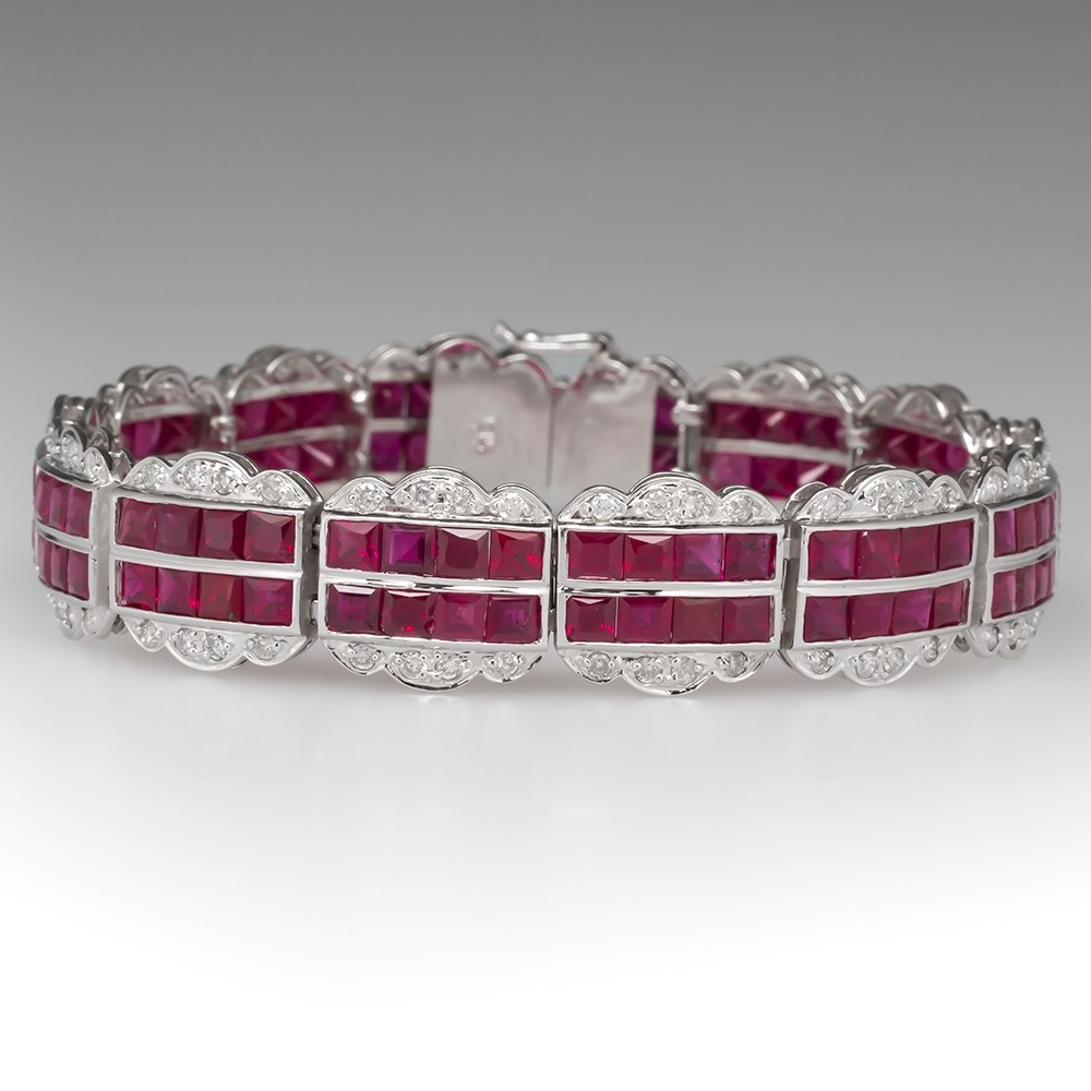 Beautiful Ruby & Diamond Wide Gemstone Bracelet 18K White Gold