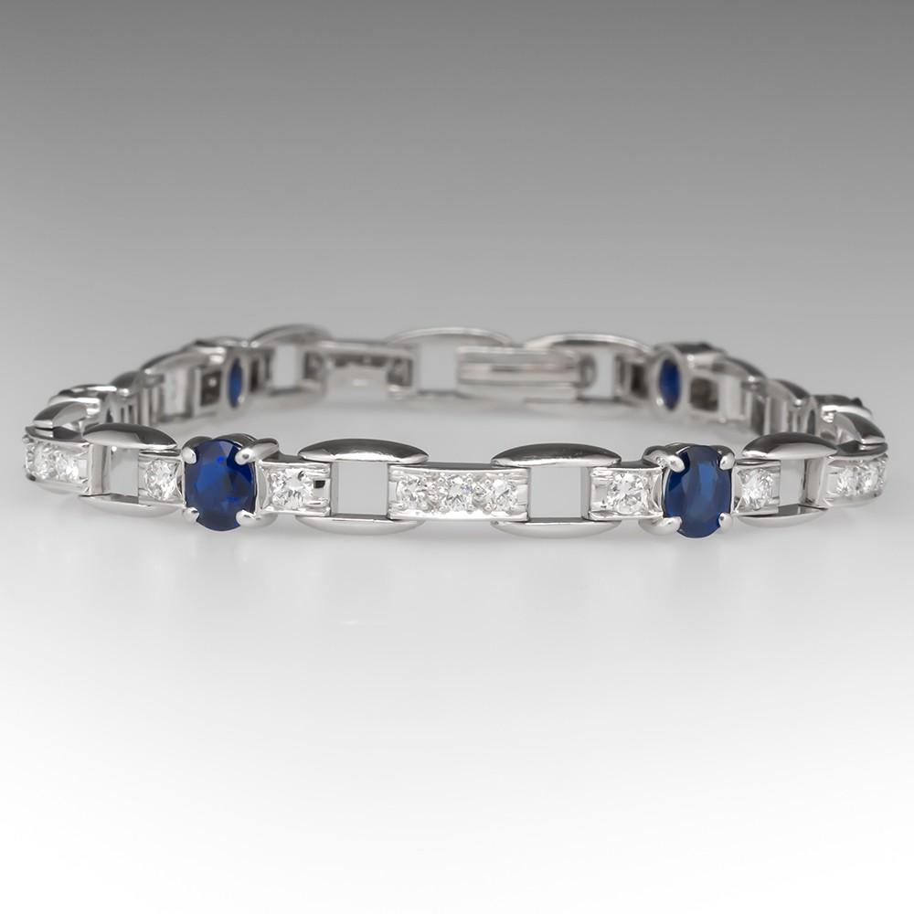 Vibrant Blue Sapphire & Diamond Bracelet Platinum 7-Inch