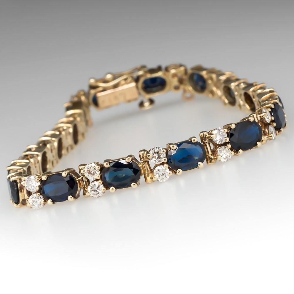 10 Carat Blue Sapphire & Diamond Tennis Bracelet 14K Gold