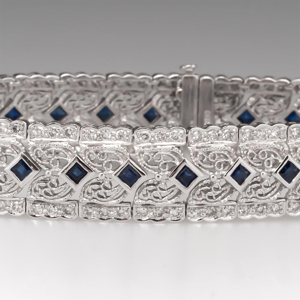 Blue Sapphire & Diamond Filigree Bracelet 18K White Gold