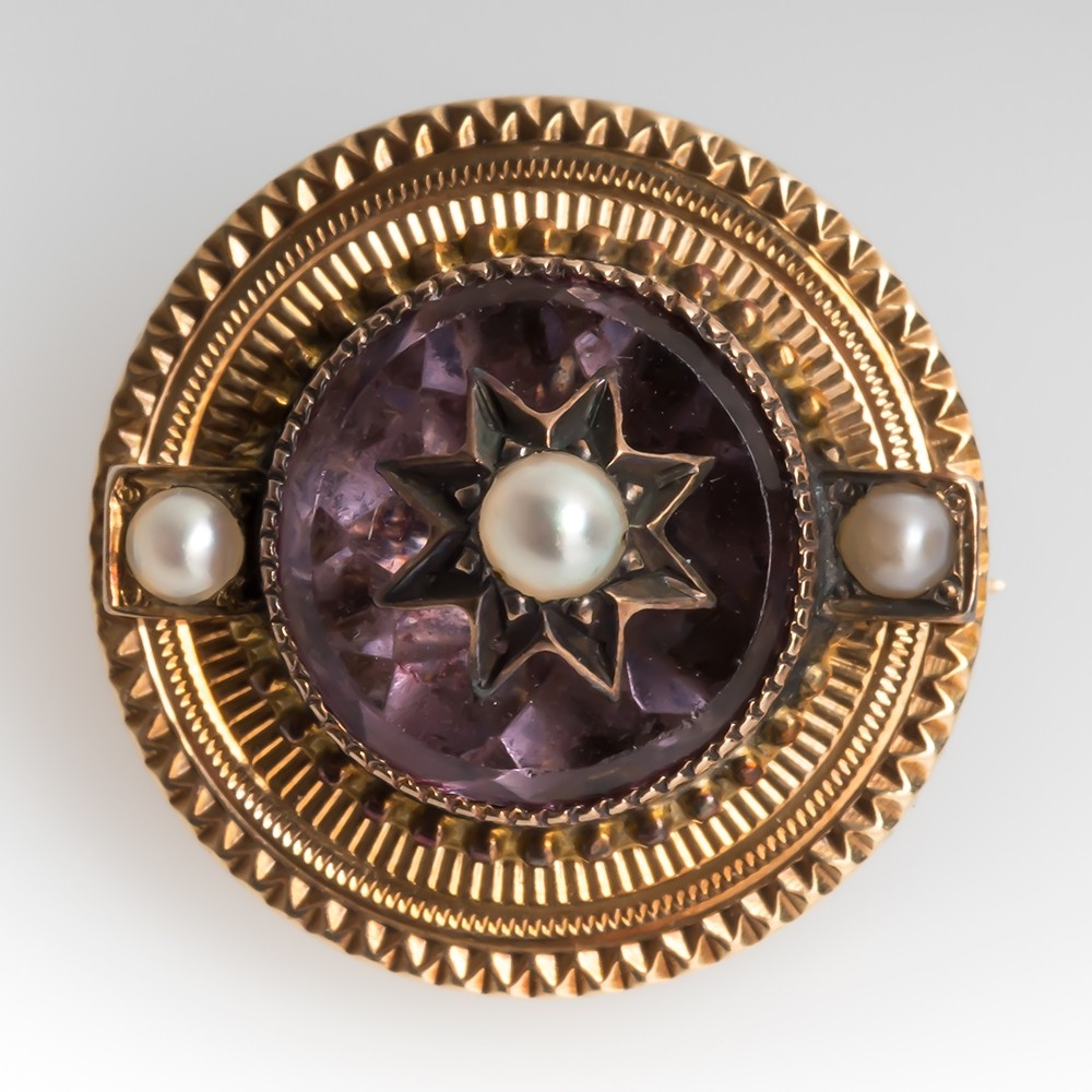 Victorian Era Antique Amethyst & Pearl Pin Brooch 14K Gold