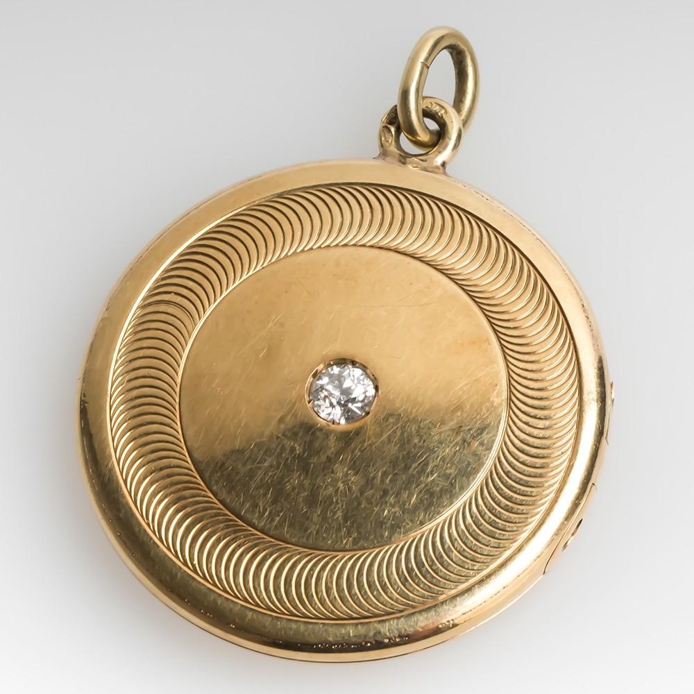Antique Old European Cut Diamond Round Locket 14K Yellow Gold