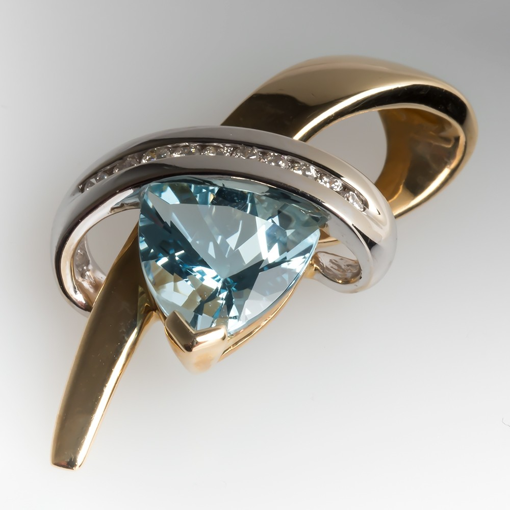 Genuine Blue Topaz & Diamond Slide Pendant 14K Gold