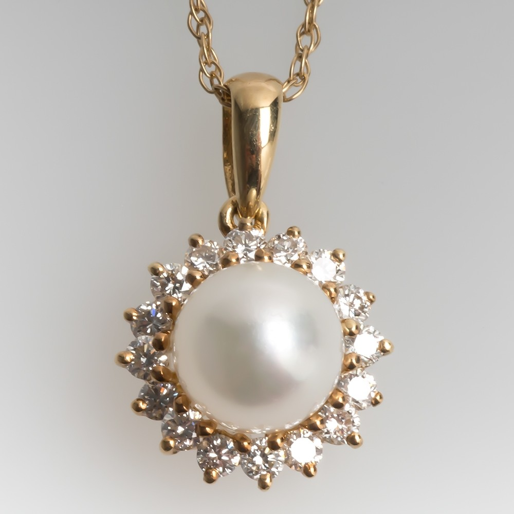 Pearl & Diamond Halo Slide Pendant Necklace 14K Yellow Gold