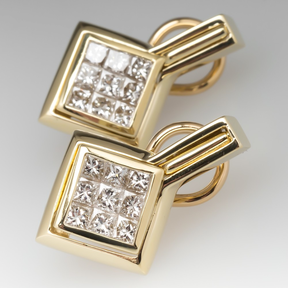 Invisible Set Princess Cut Diamond Dangle Earrings 18K Gold