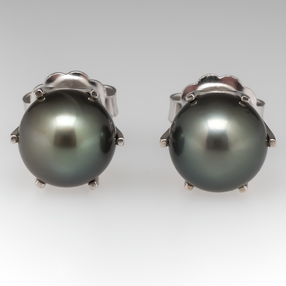 10mm Tahitian Pearl Stud Earrings 18K White Gold