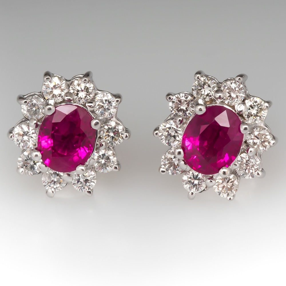 Stunning Ruby Diamond Halo Earrings 18K White Gold