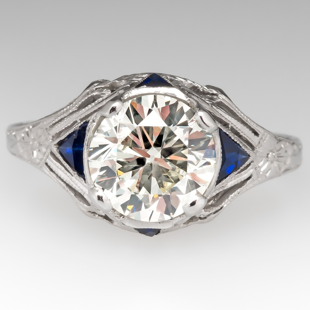 Art Deco Engagement Ring Transitional Cut Diamond Filigree w/ Sapphires
