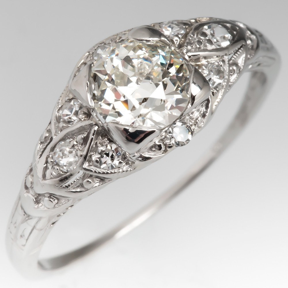 1930's Antique Old European Cut Diamond Engagement Ring Platinum