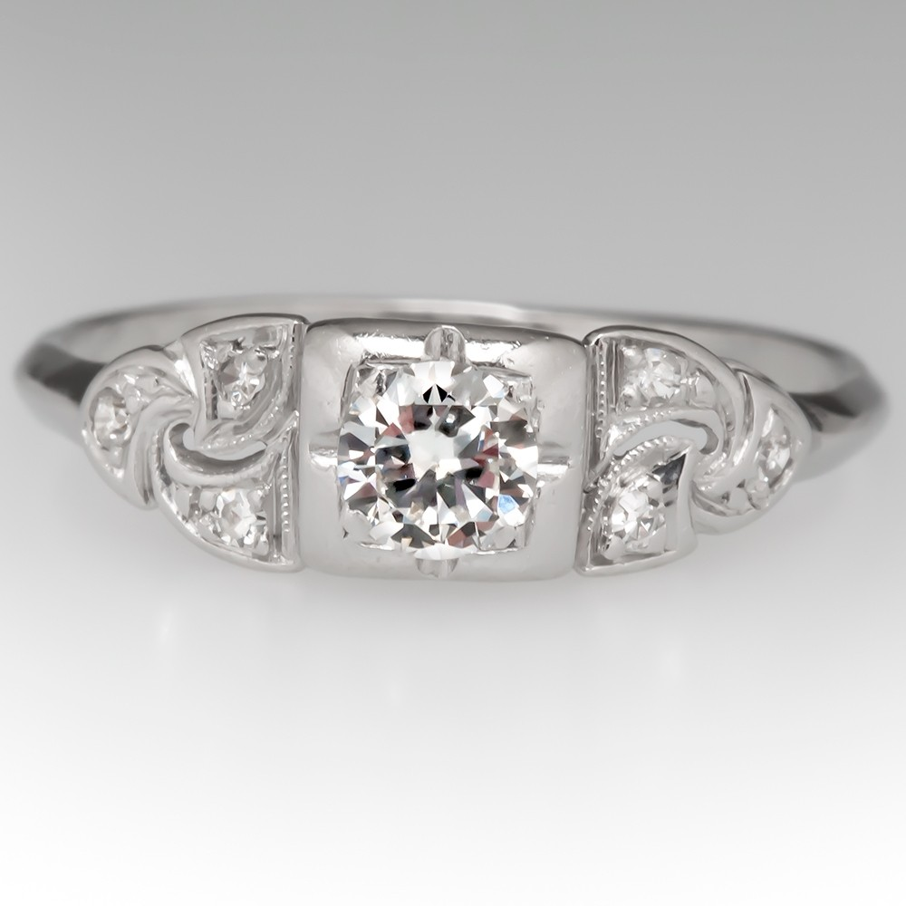 Late 1930's Diamond Engagement Ring Platinum