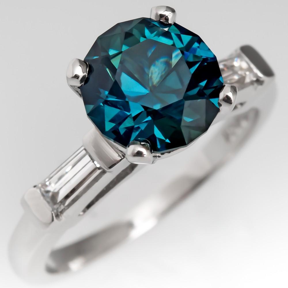 No Heat Blue Green Sapphire Ring Platinum w/ Baguette Diamonds