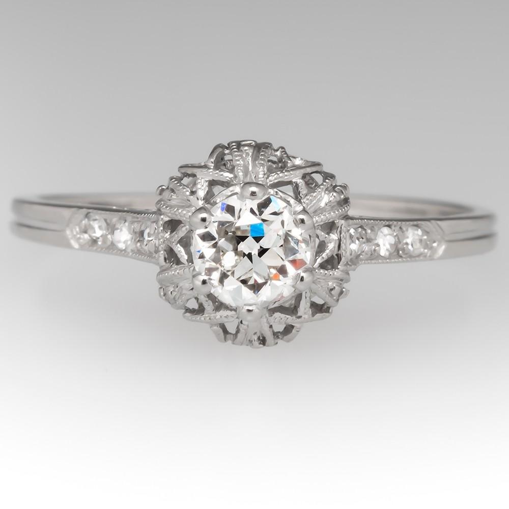 Beautiful Vintage Filigree Engagement Ring Old Euro Diamond Platinum