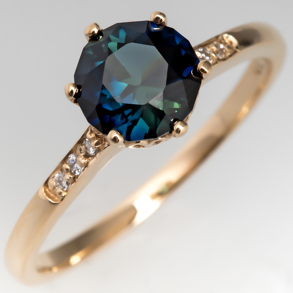 Dark Green-Blue Sapphire Engagement Ring 14K Gold Crown Head