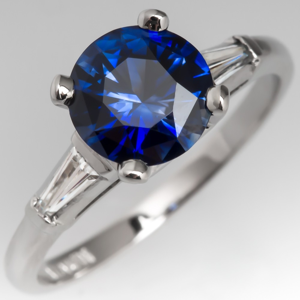 Rich Blue Sapphire Engagement Ring 1960's Vintage Platinum Diamond Mounting