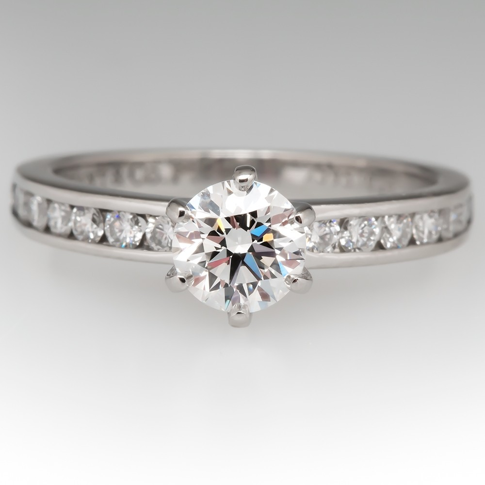 Tiffany & Co Diamond Engagement Ring w/ Accents Platinum .48CT G/VS2