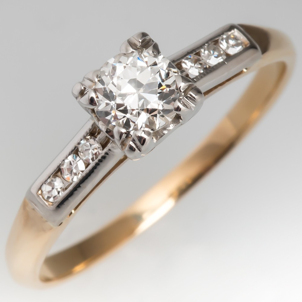 Vintage Old European Cut Diamond Engagement Ring Two-Tone 14K Gold