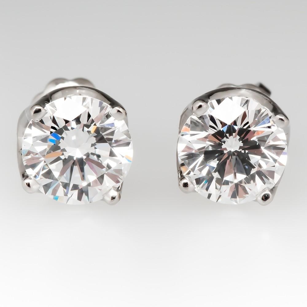 Canadian Diamond Stud Earrings 1.50CTW Excellent Cut F / VS2-SI1