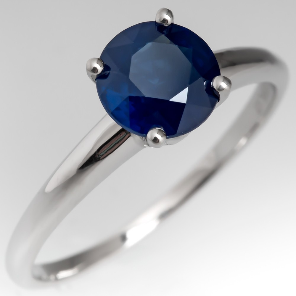 1.6 Carat Round Cut Blue Sapphire Solitaire Engagement Ring Platinum 4-Prong