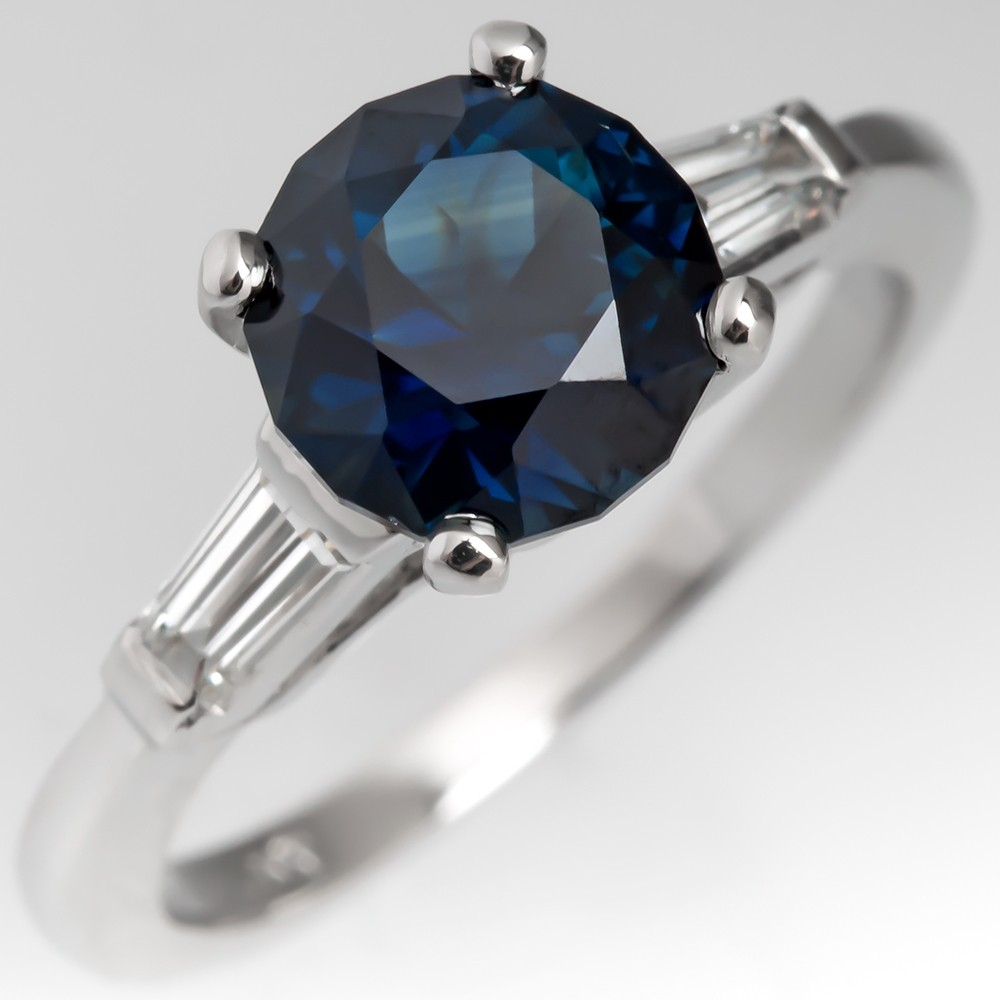 Very Dark Blue Green No Heat Sapphire Engagement Ring