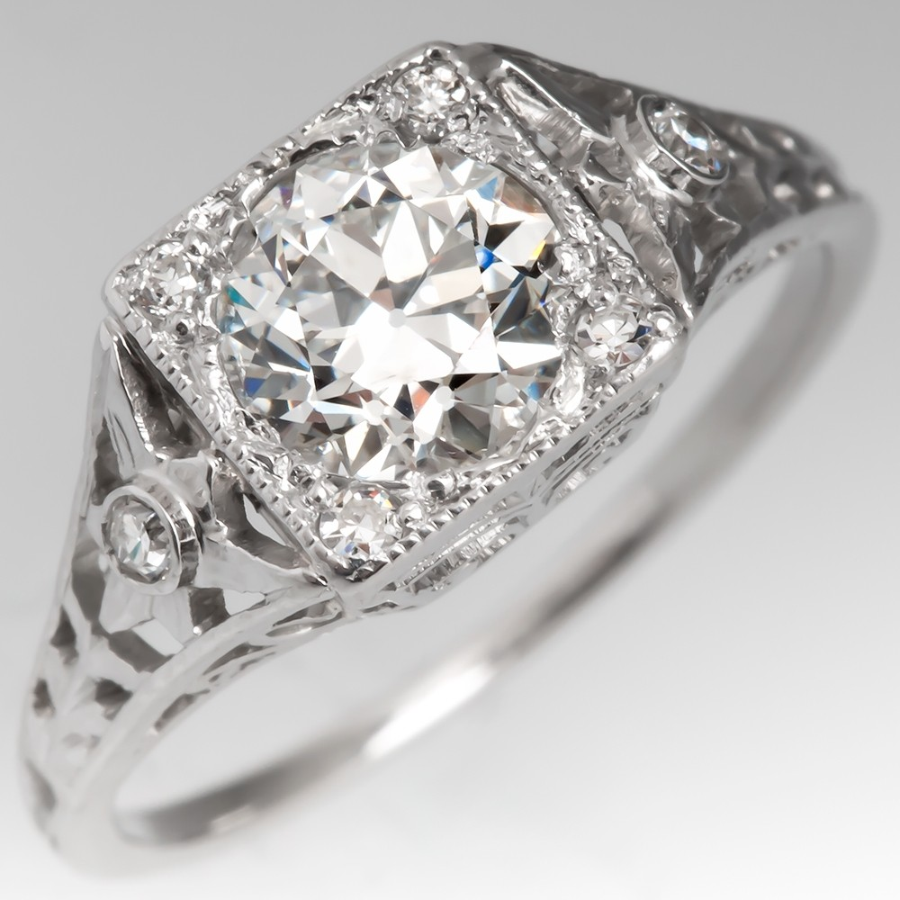 Deco Filigree Engagement Ring Old Euro Diamond Platinum