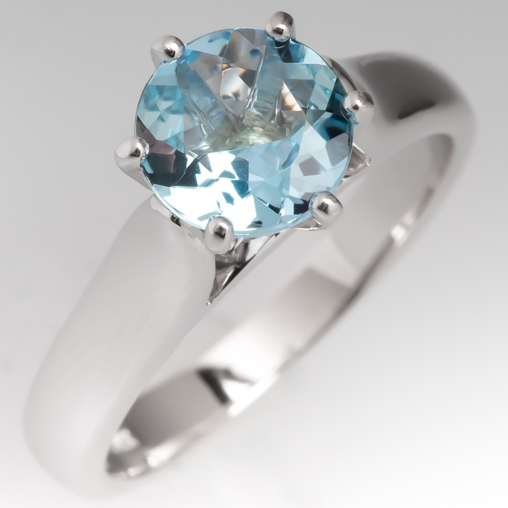 Aquamarine Solitaire 6-Prong Engagement Ring 14K White Gold