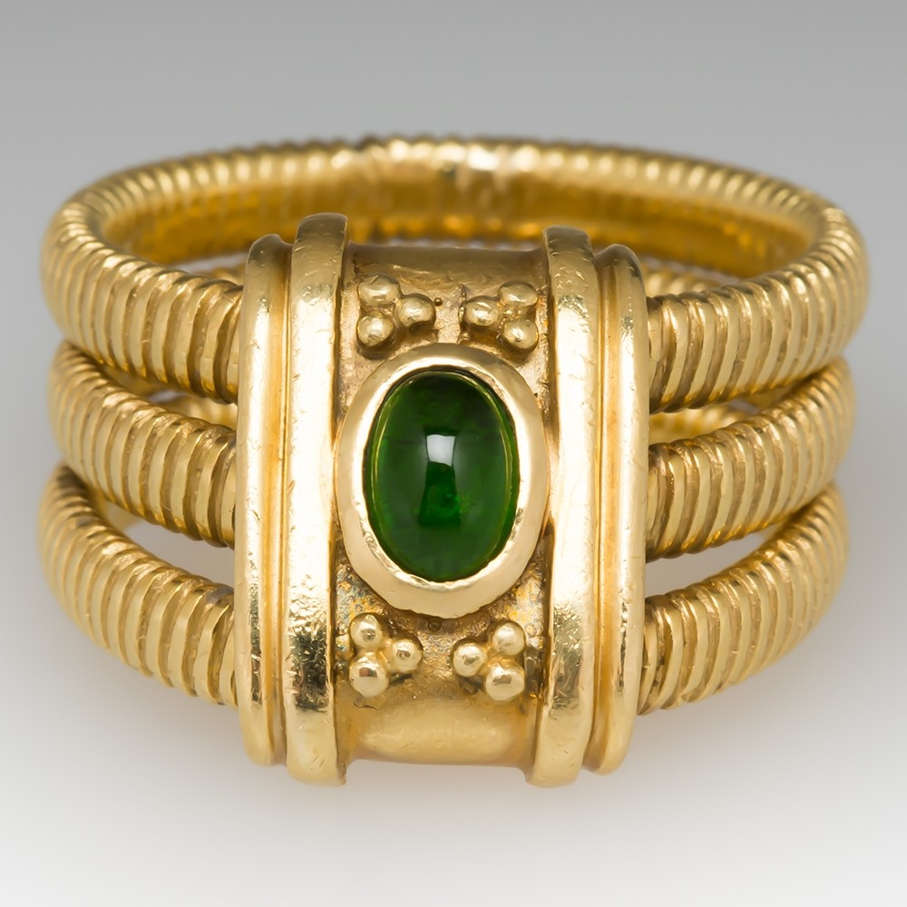 Etruscan Style 18k Yellow Gold 3 Band Ring Tsavorite Garnet
