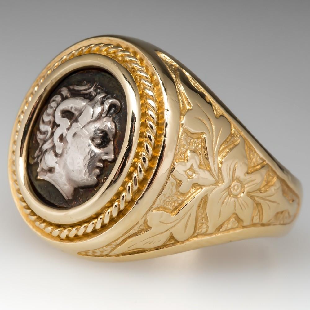 Handsome Mens Silver Medallion Coin Ring 14K Gold