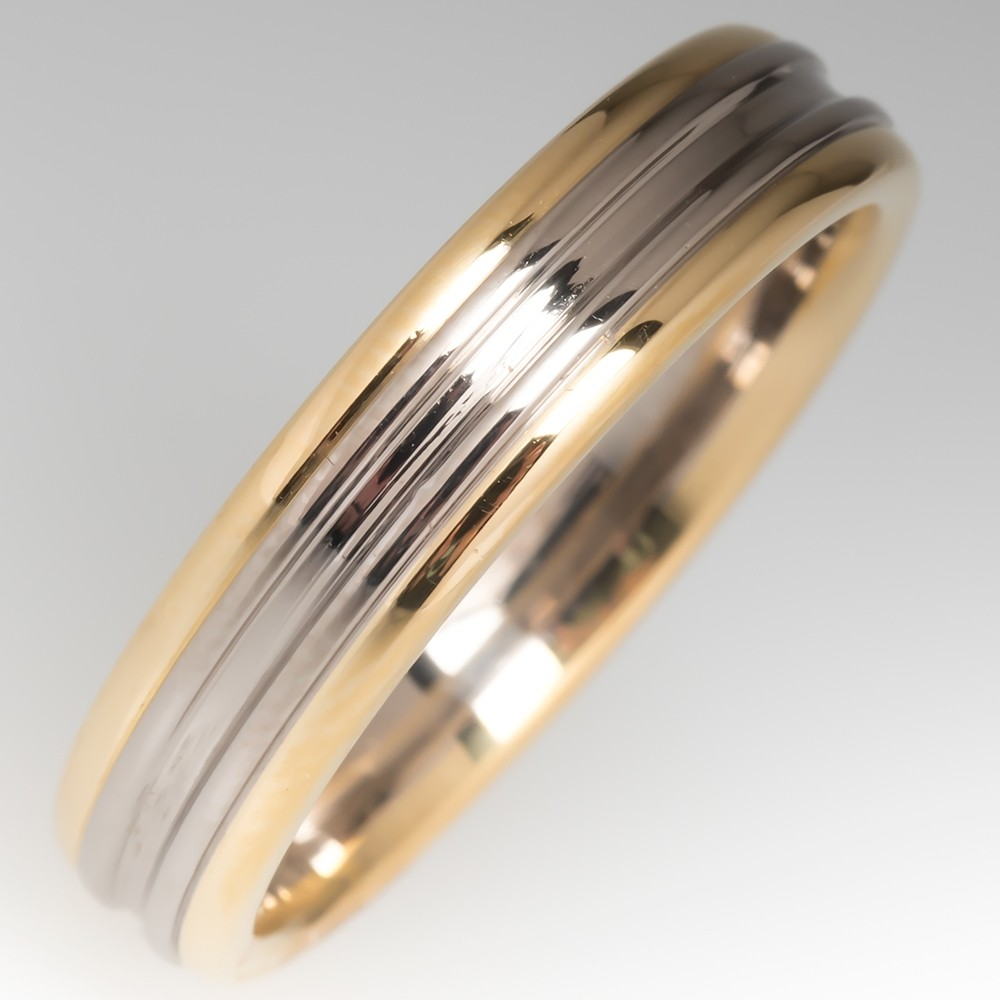 2-Toned Mens 18K Gold Wedding Band Size 11.5