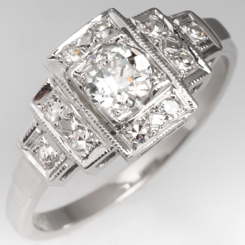 Geometric Retro Diamond Engagement Ring 14K White Gold