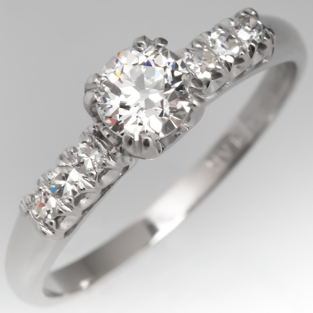Elegant Vintage Engagement Ring Old Euro Diamond w/ Accents in Platinum