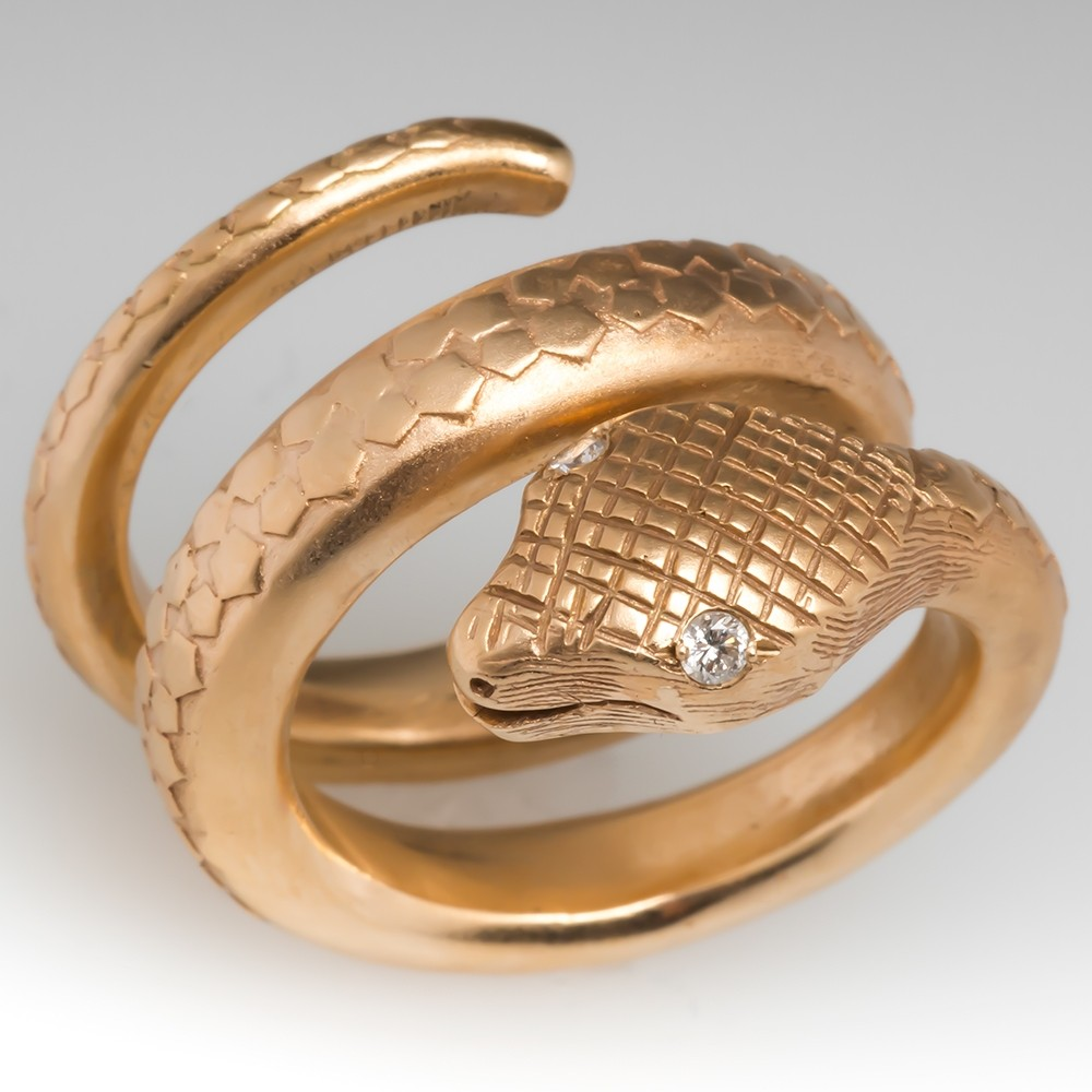 Coiled Snake Ring w/ Diamond Eyes Heavy 14K Gold