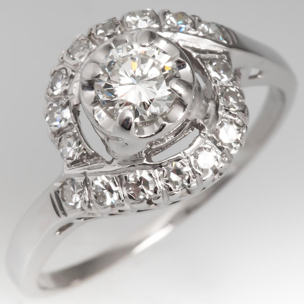 Vintage Diamond Swirl Motif Engagement Ring 14k White Gold