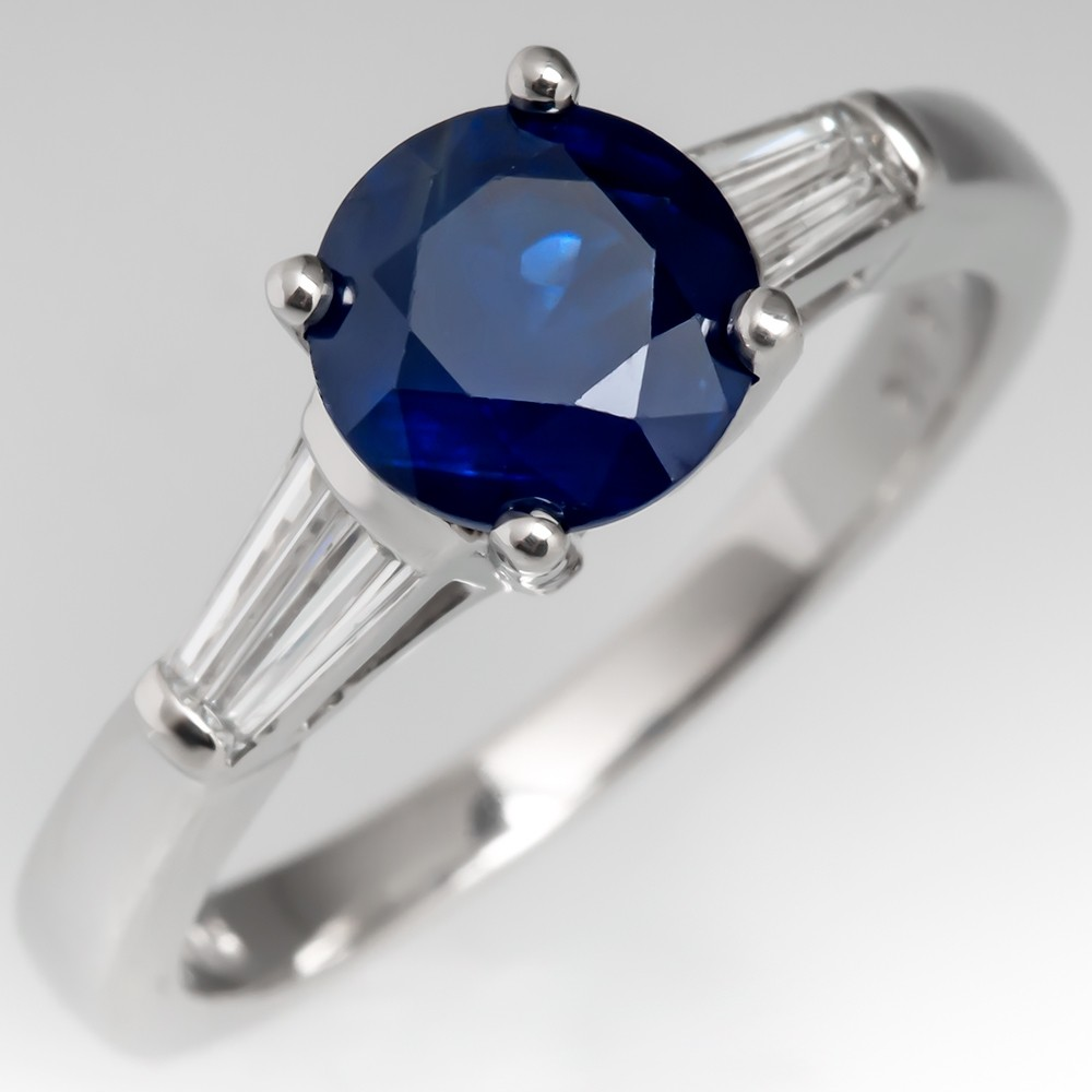 Beautiful Blue Sapphire Engagement Ring w/Vintage Platinum Baguette Diamonds