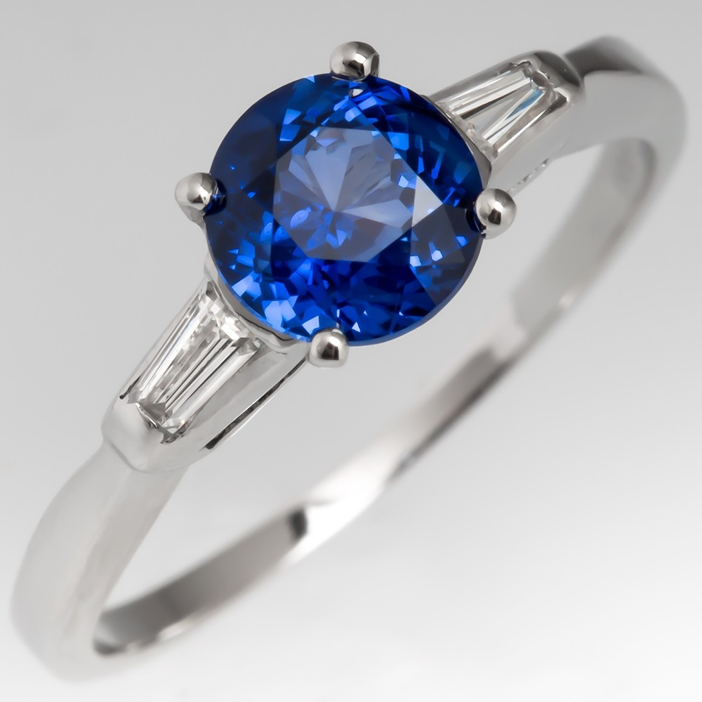 Beautiful Blue Sapphire Engagement Ring Platinum Baguette Diamonds