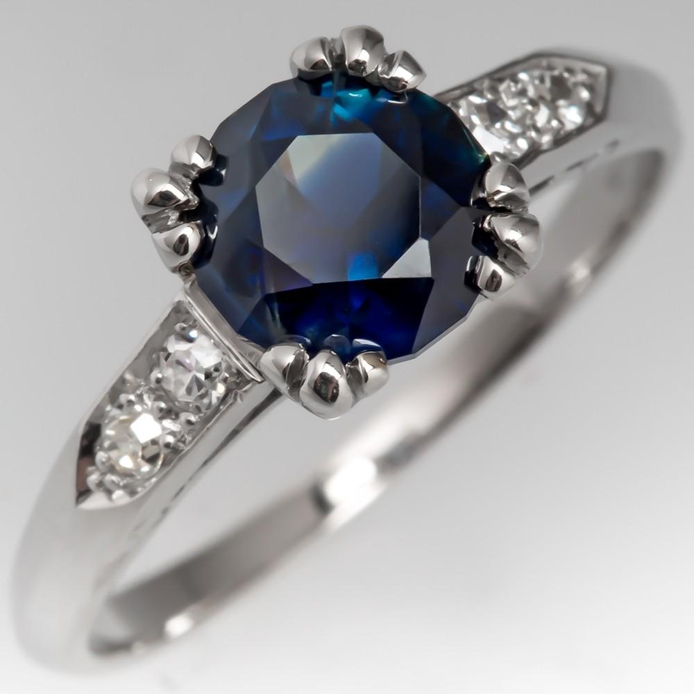 Dark Bi-Color Blue Sapphire in Antique Platinum Diamond Mounting