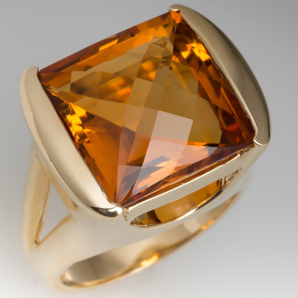 Orangy Citrine Gemstone Cocktail Ring 14K Gold