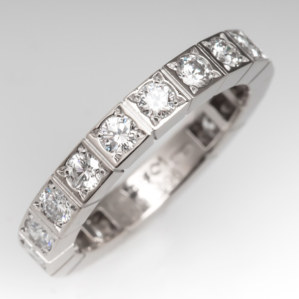Cartier Lanieres Near Eternity Diamond Band Ring 18K White Gold 48