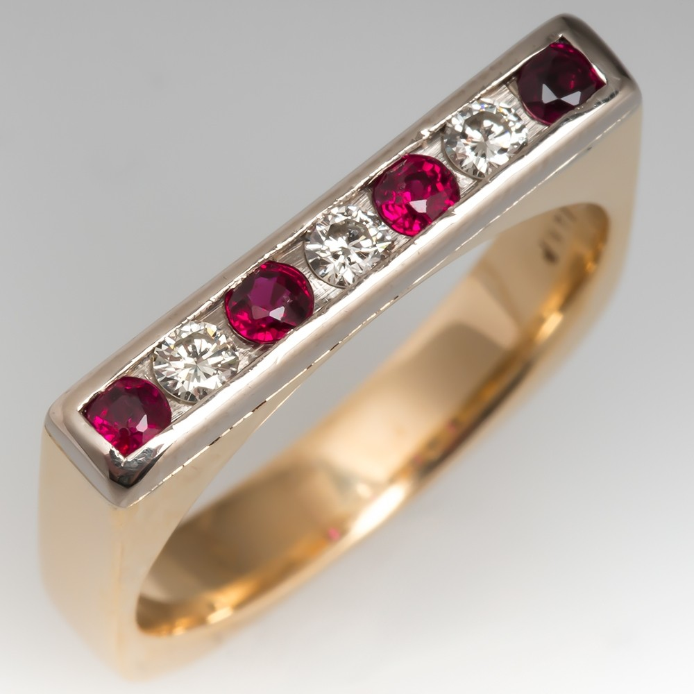 Red Ruby & Diamond Squared Band Ring 14K Gold