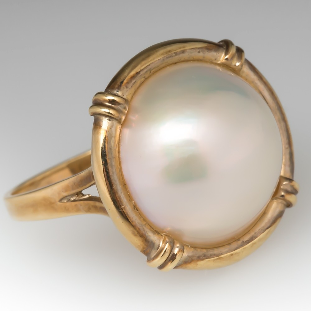 Vintage 14mm Mabe Pearl Cocktail Ring 14K Gold