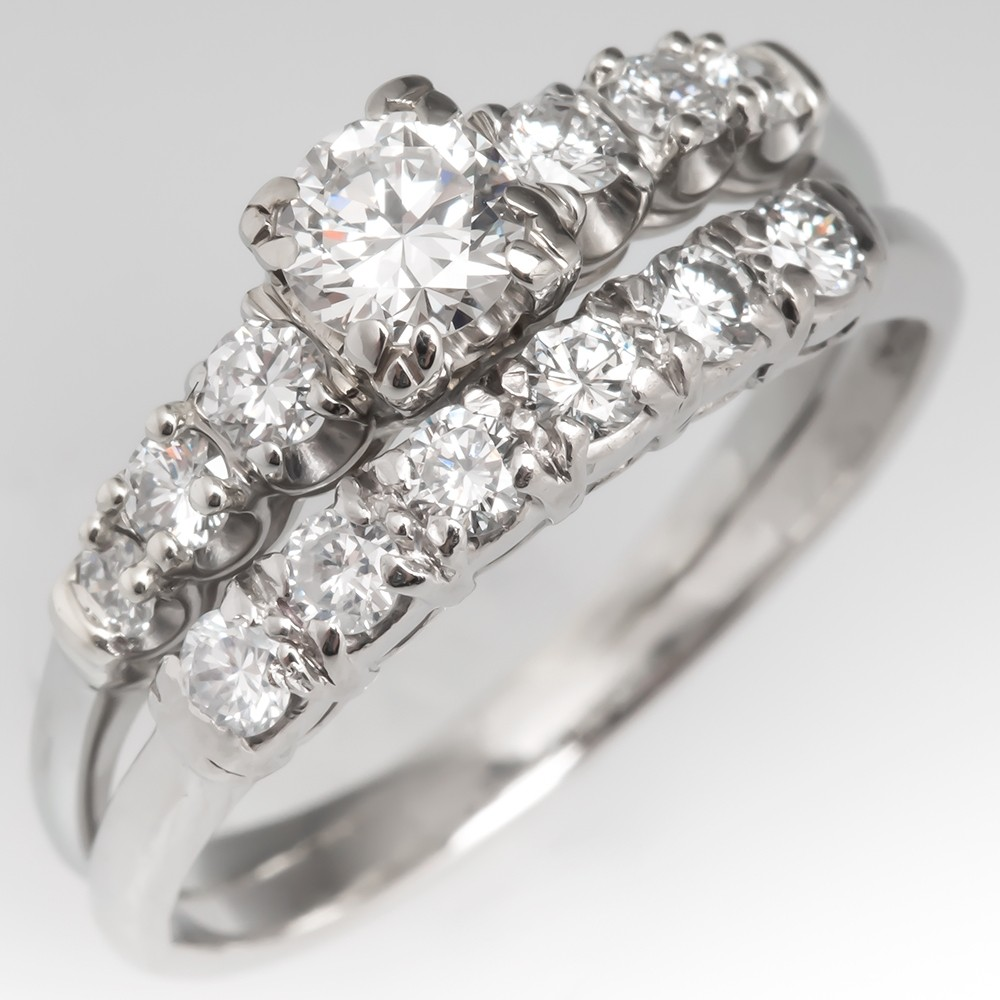 1950's Granat Bros Fused Diamond Bridal Wedding Ring Set