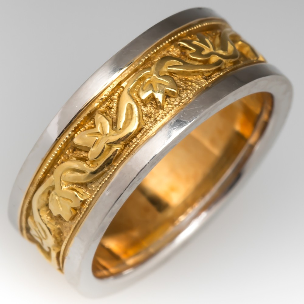 18K Gold & Platinum Ivy Motif 2-Tone Wide Band Ring