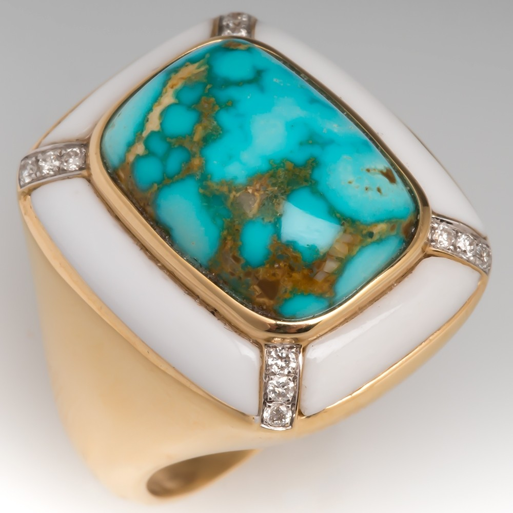 Turquoise & White Agate Cocktail Ring w/ Diamonds 14K