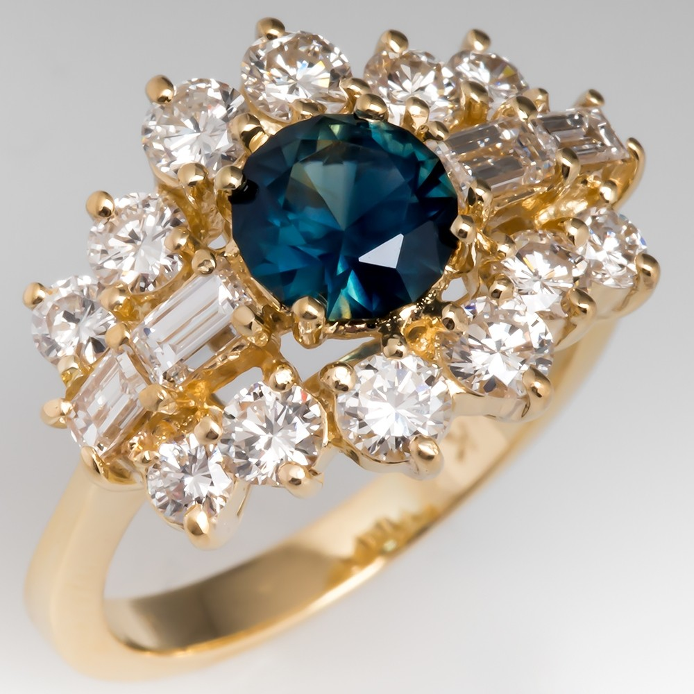 Vintage Blue Green Sapphire & Diamond Ring 18K Yellow Gold