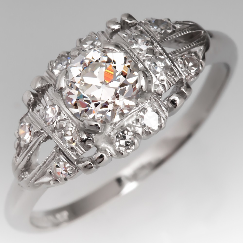 Low Profile Diamond Antique Engagement Ring Platinum 1930's