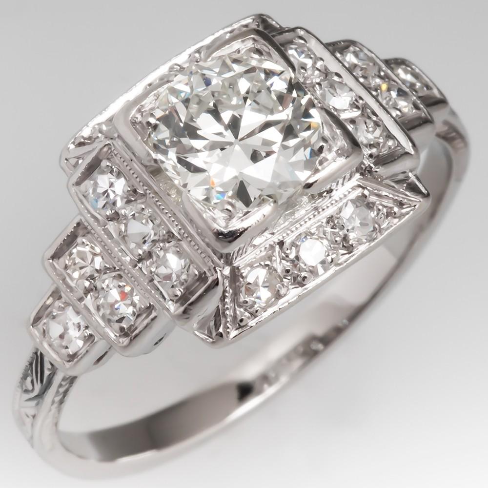 Stunning Art Deco Engagement Ring Old Euro Diamond Platinum