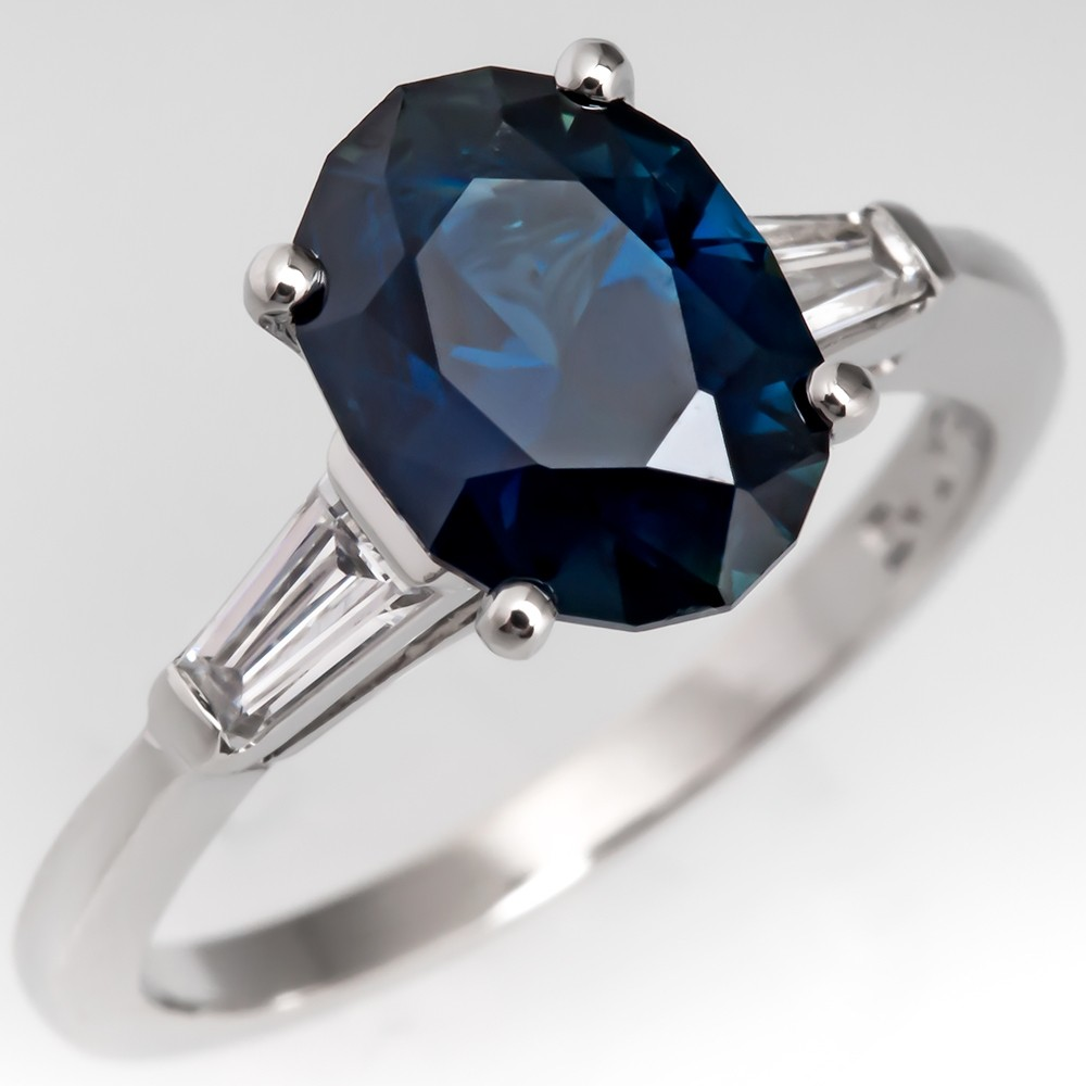 No Heat 2 Carat Dark Blue Sapphire Engagement Ring 1960's Mounting