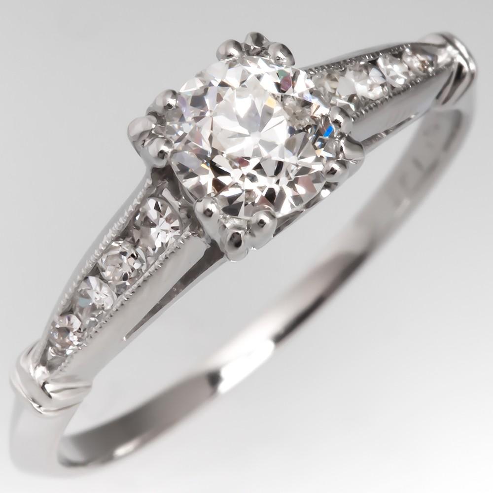 Antique 1930's Engagement Ring Platinum Old Euro Diamond
