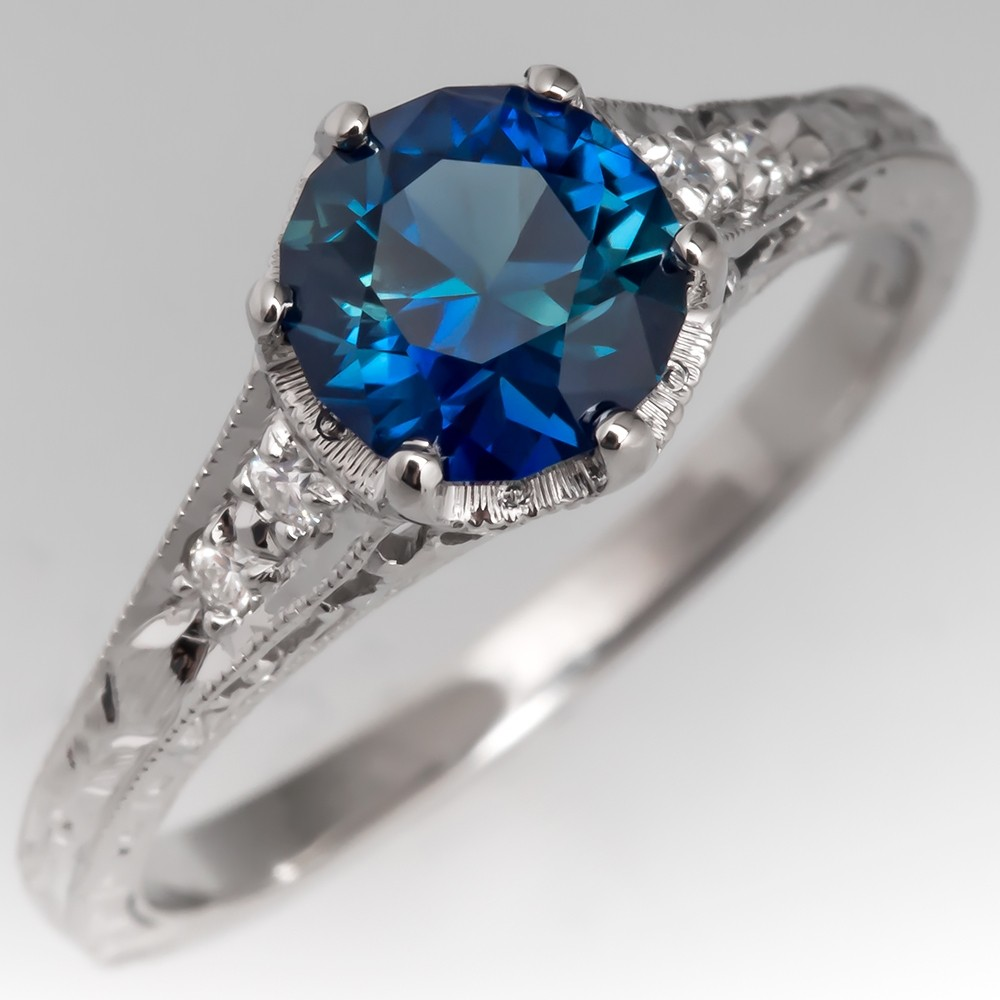 Peacock Green Blue Sapphire Engagement Ring Platinum Engraved