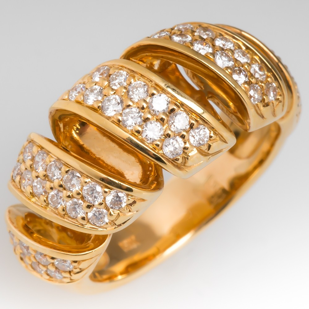 Ladies Estate Diamond Spiral Design Ring 18K Gold