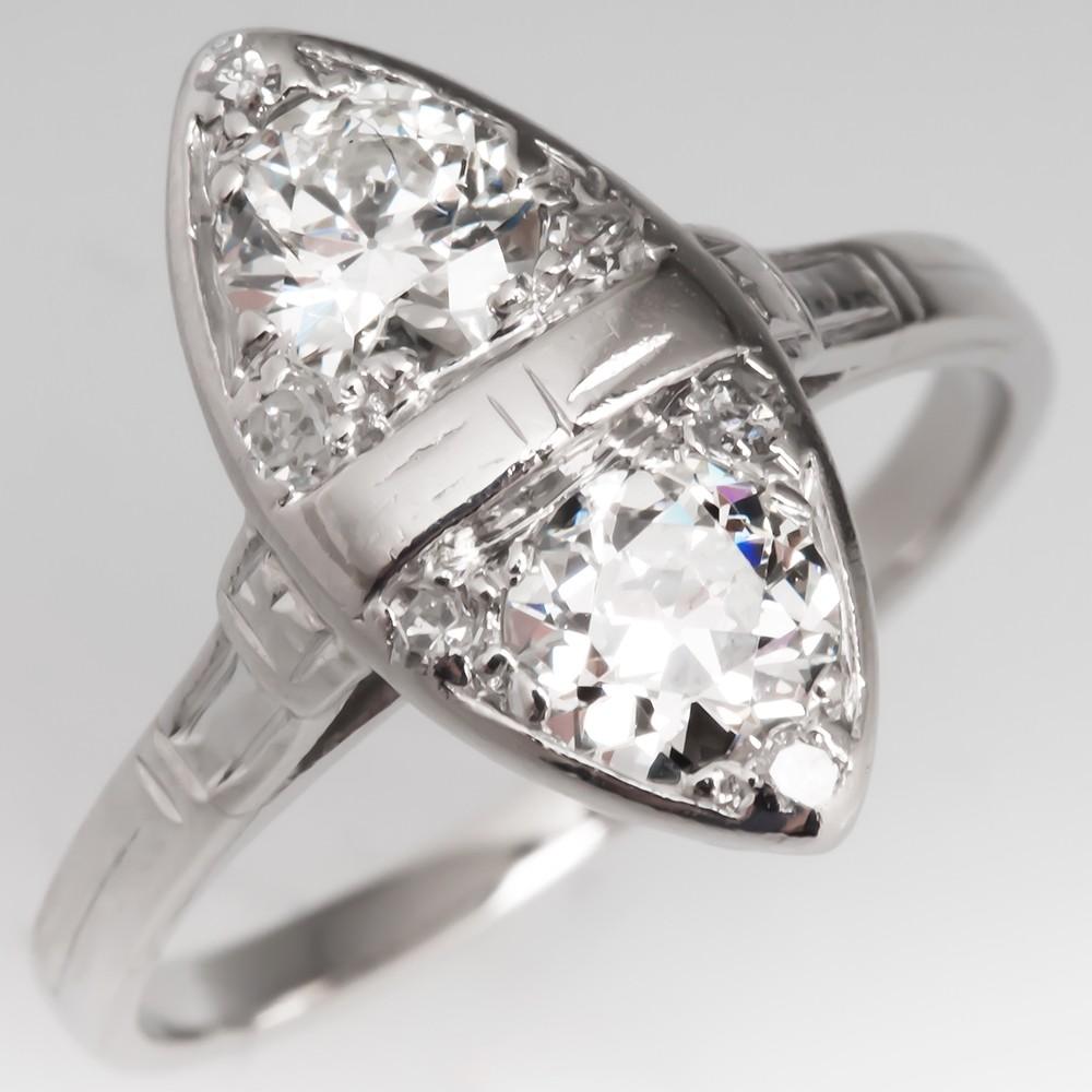 Antique Twin Diamond Ring Platinum Old European Cut 1920's